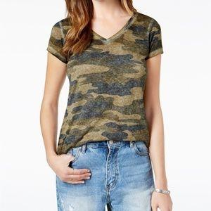 Lucky Brand Camo Print Short Sleeve V Neck Shirt